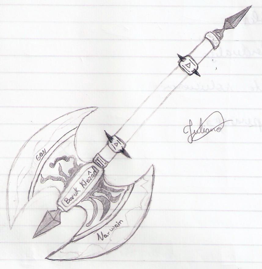Battle Axe Drawing Magical Battle Axe858 x 881