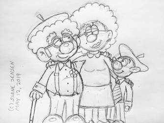 Pierre and Andre with mom 2019 (sketch) by PierreAndAndre