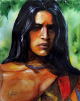 Native american. Watercolor sketch by AtanvarneArt