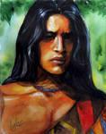 Native american. Watercolor sketch