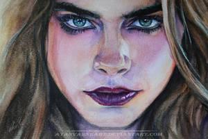 Cara Delevingne. Watercolor sketch by AtanvarneArt