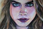 Cara Delevingne. Watercolor sketch