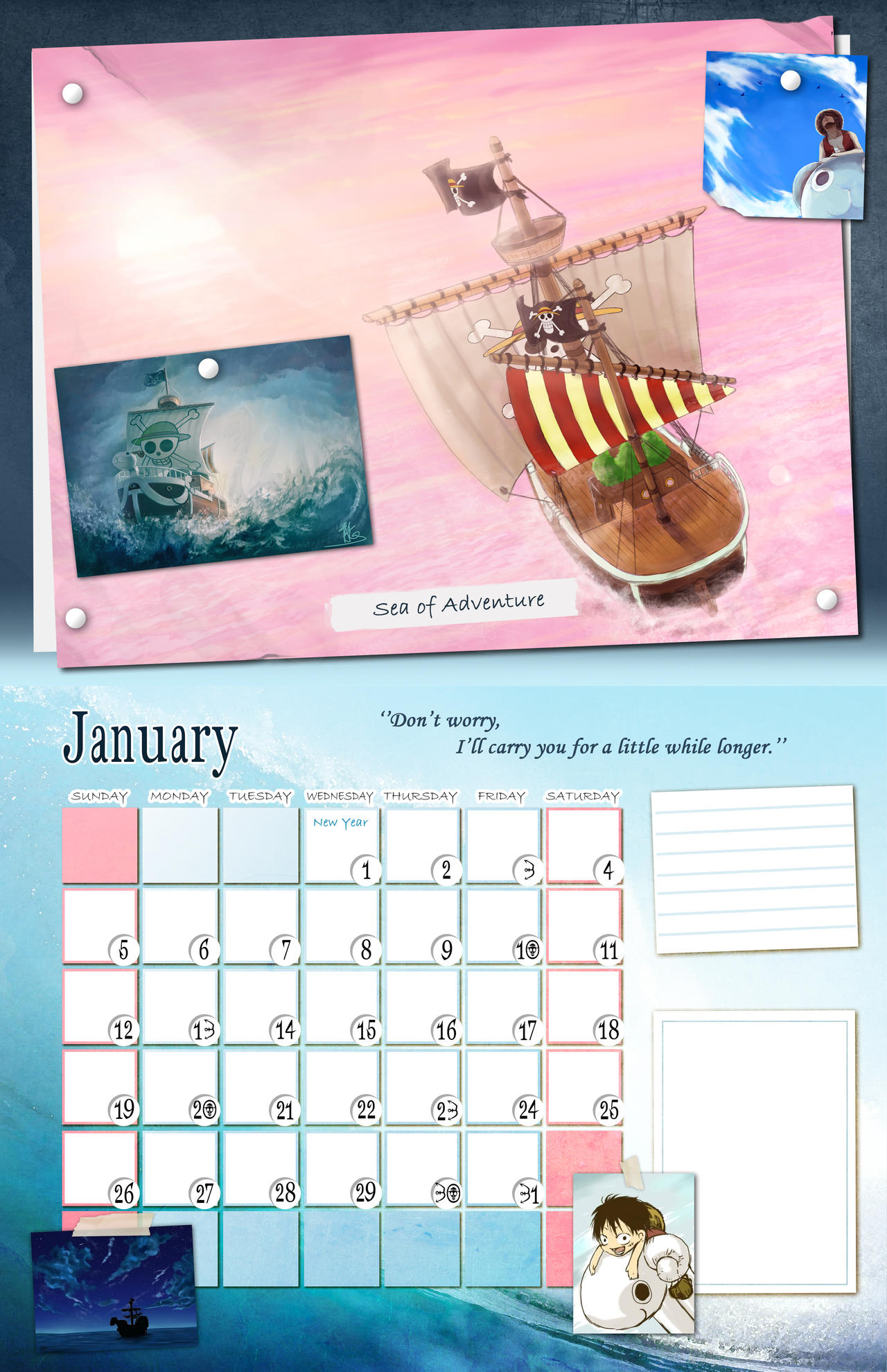 Calendar Art Piece : One piece calendar january by takiyah chan on