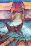Boat in the town by Anastasiya-Nazarova