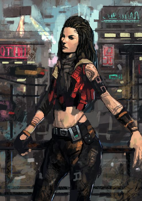 Cyberpunk Girl Sketch by Beaver-Skin