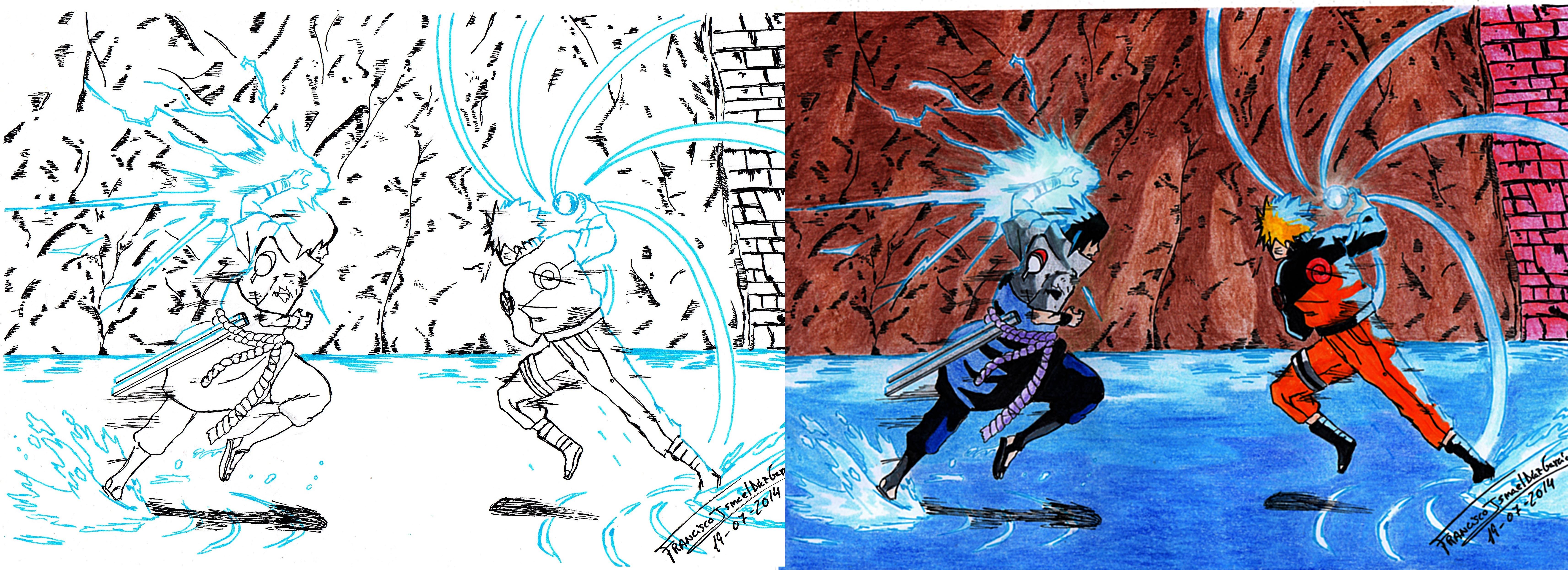 Naruto Vs Sasuke Rasengan Vs Chidori By Franismael117 On Deviantart