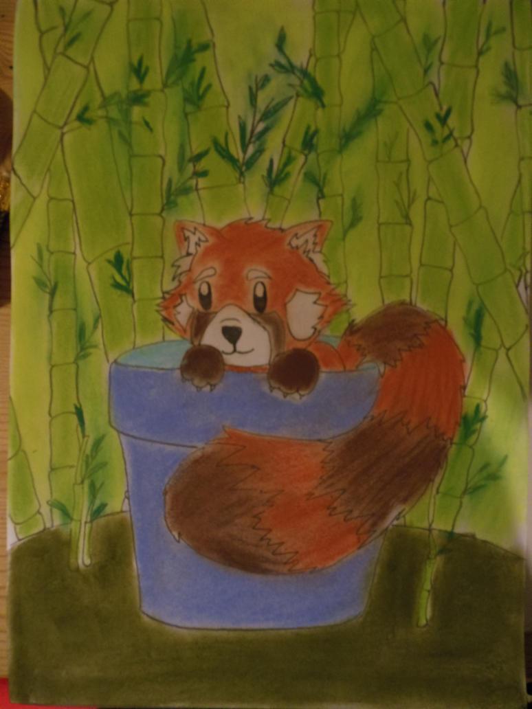 Flowerpot panda! by calicocat123