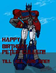 Colored Optimus Sketch Birthday Card