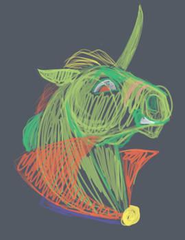 Halloween Unicorn Bust Shirt Design WIP 1.0