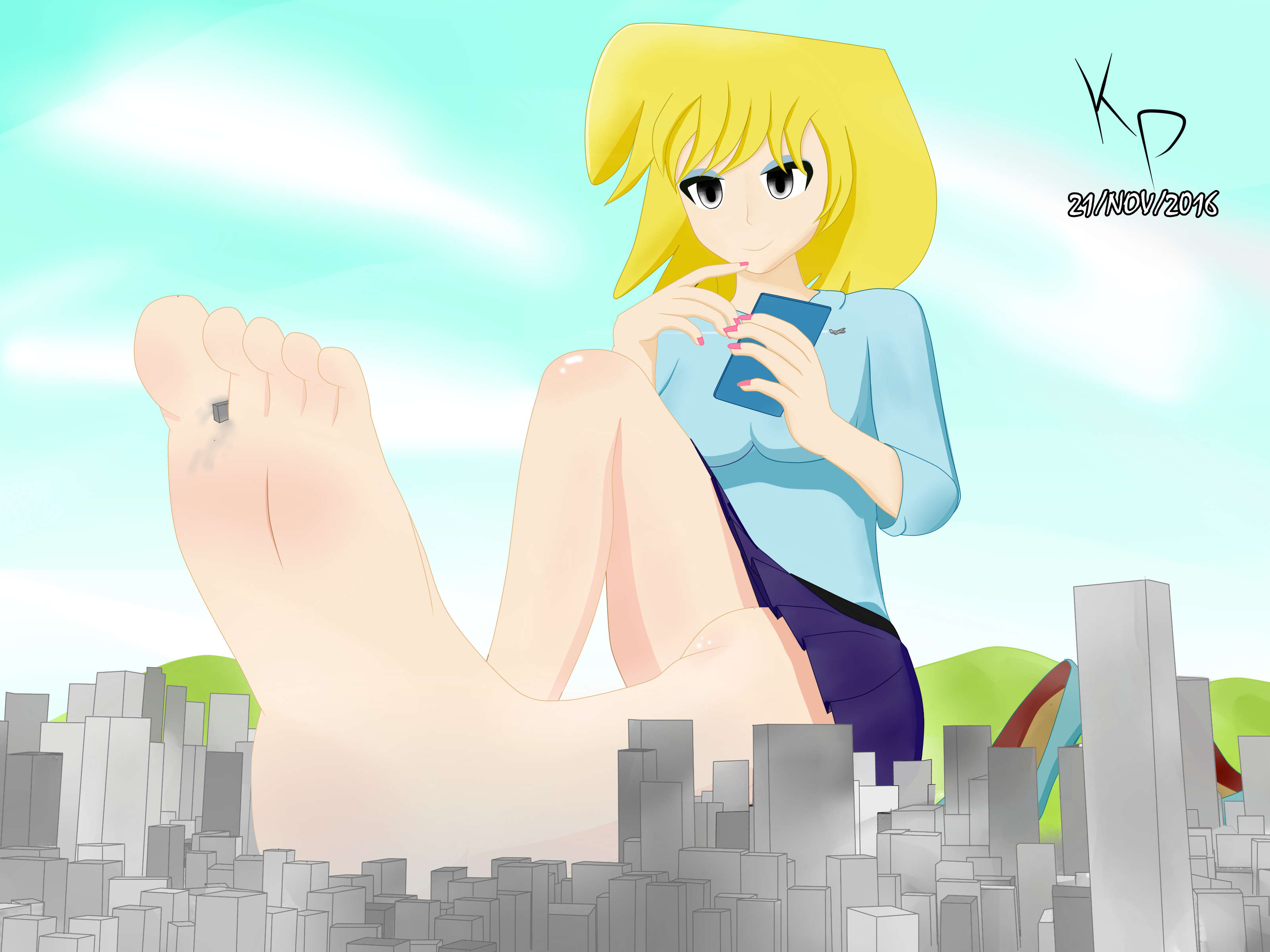 MegaGiantess Lori Relaxing Over the City by KORENOPANZER