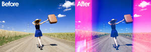 GRAINSNAP:  Film Scan Light Leak Before / After