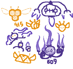 Day 298 - Combee and Chandelure by kirbymariomega