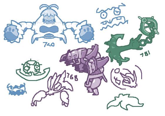 Day 383 - Crabominable, Golisopod, Dhelmise by kirbymariomega