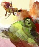 Hulk vs Wolverine by dnz85