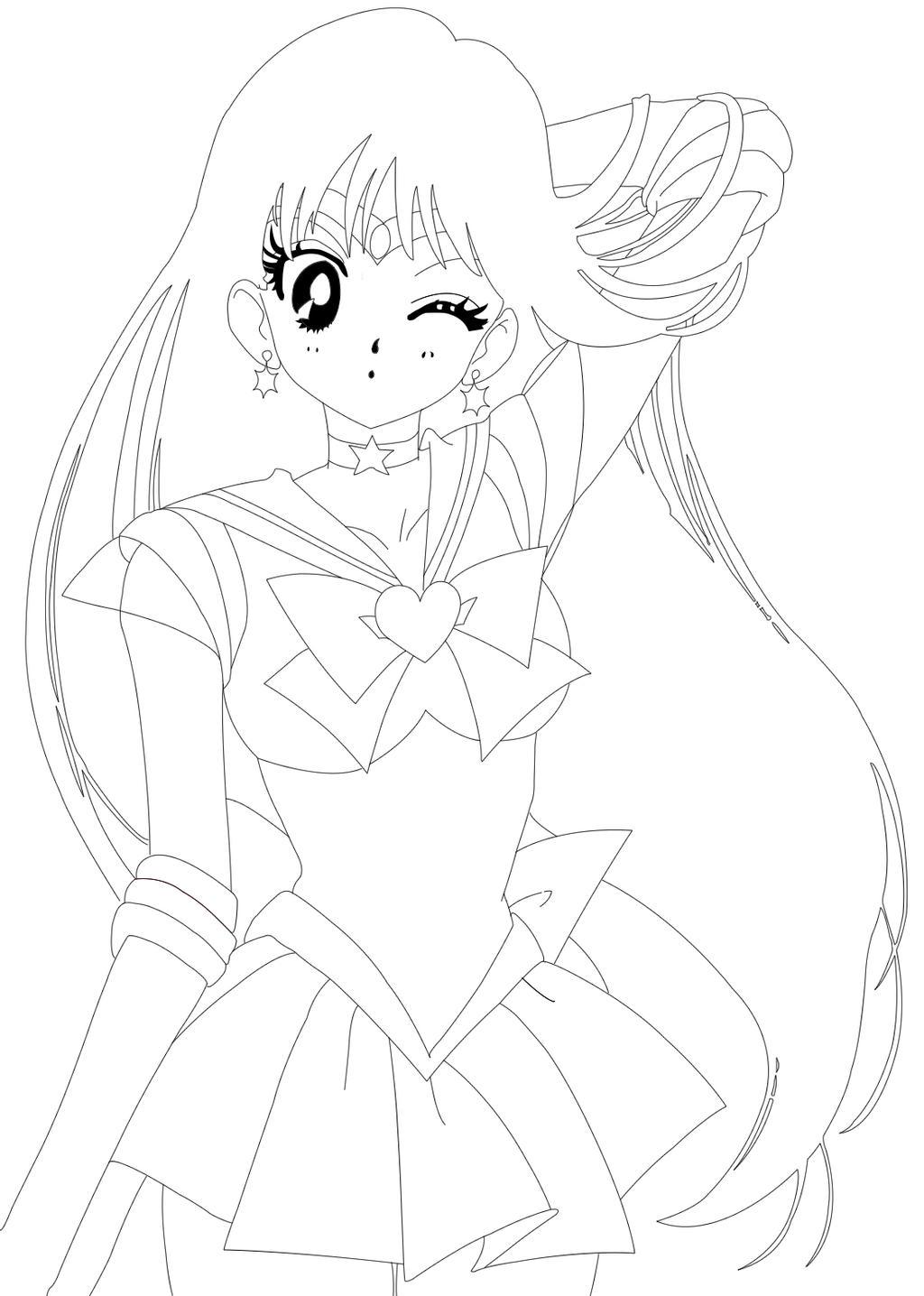 Sailor mars line art by j stan on deviantart for Sailor mars coloring pages