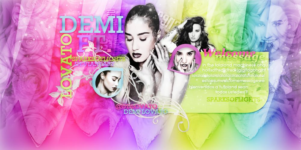 Demi Header .psd download by SparksOfLights