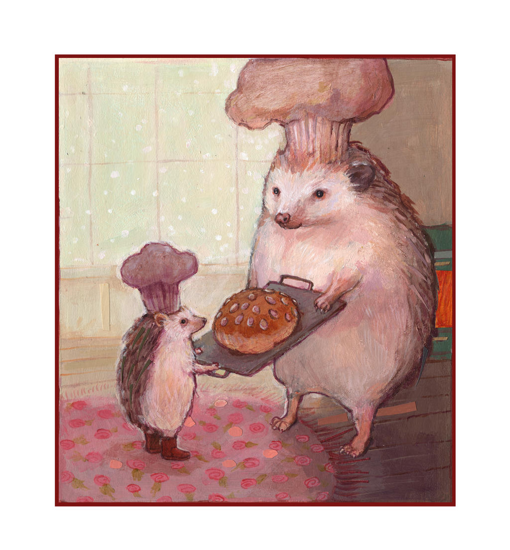 HEDGEHOGS baking BREAD by solangiana