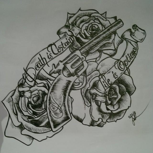 Tattoo Design Gun n Roses  by