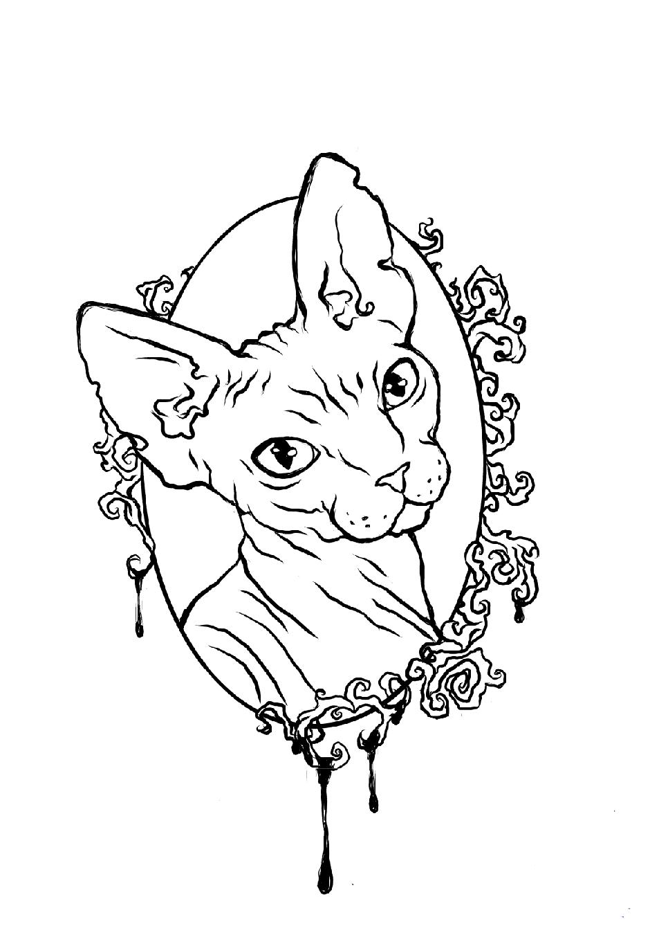 Тату кошка для девушек: 100 самых красивых вариантов на фото 39