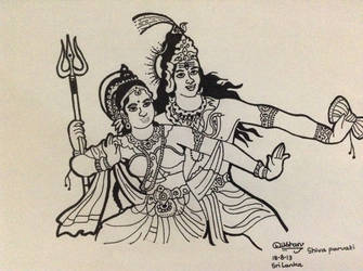 Dancing Lord Shiva and Godess Parvati by thebuddhist1999