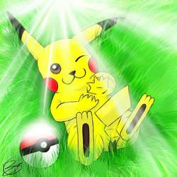 Pikachu in grass-desu by windrenz