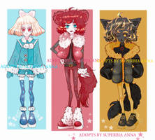 [ OPEN ] Three adopts: Blue, Red and Yellow by Superbia23