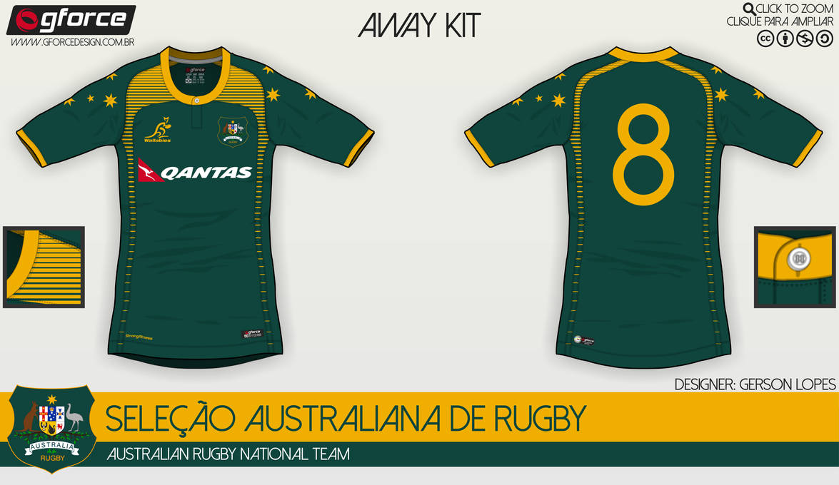 wholesale dealer 336b0 648fd Australian Rugby National Team - Away Kit by ...