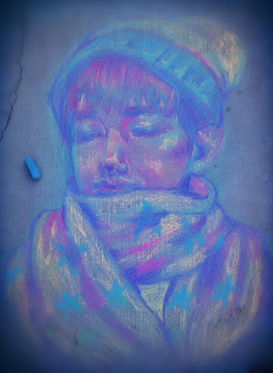 Chalk Drawing: Kim Taehyung by GarnetTheMighty
