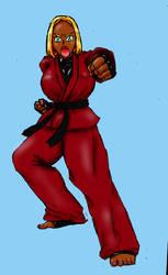 Karate girl of brown skin by buronzu