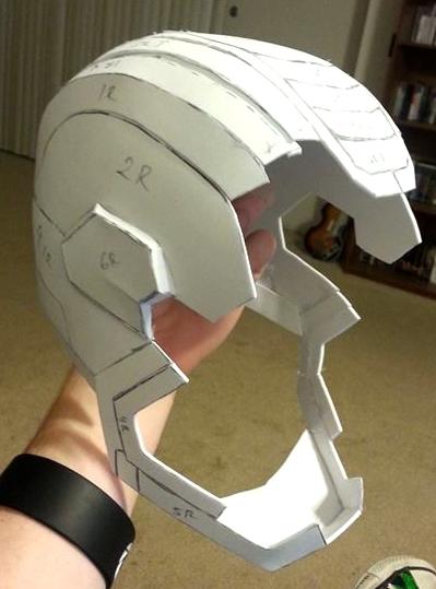 Iron Patriot Pepakura Helmet WIP 2 by AColecovision on DeviantArt