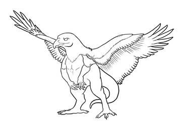 Red Tailed Hawk Dragon Lineart by MythsAndDreams