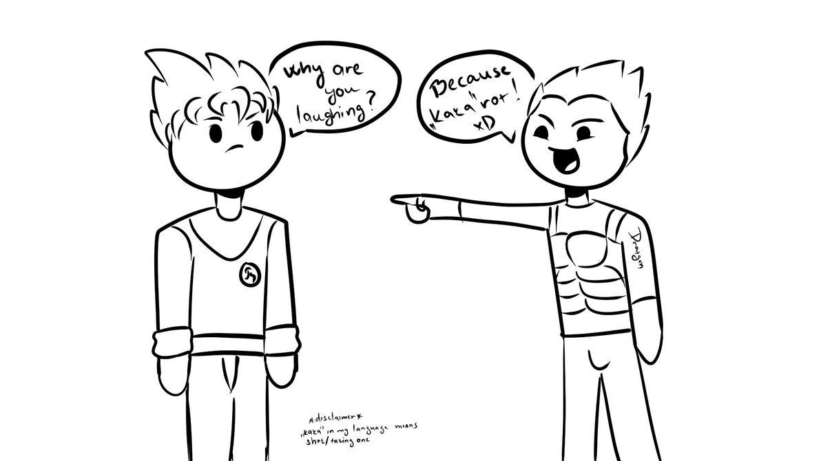 Me, making bad puns - Vegeta making fun of Kakarot by DraigenofFarossa