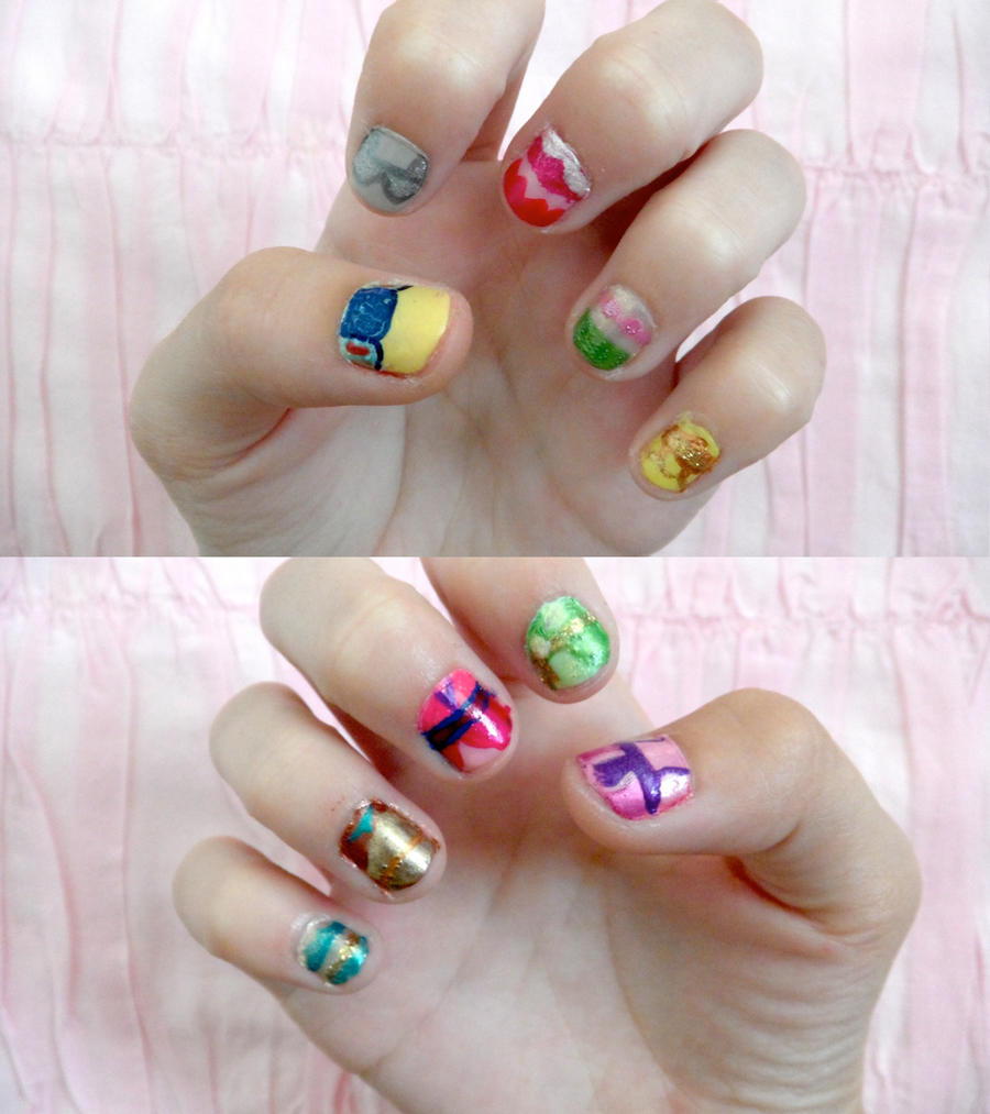 Dress Disney Princess Nails: Disney Princess Nails By Colorized-happily On DeviantArt