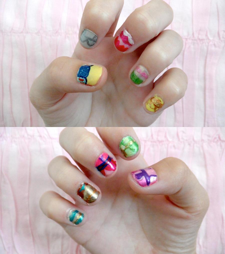Disney Princess Tiana Waterfall Nail Art: Disney Princess Nails By Colorized-happily On DeviantArt