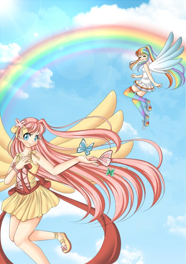 +Fluttershy and Rainbow Dash+ by Amai--Kiss