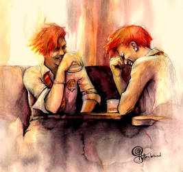 Fred and George Weasley: cheers to freedom by Peregrinus5Floh