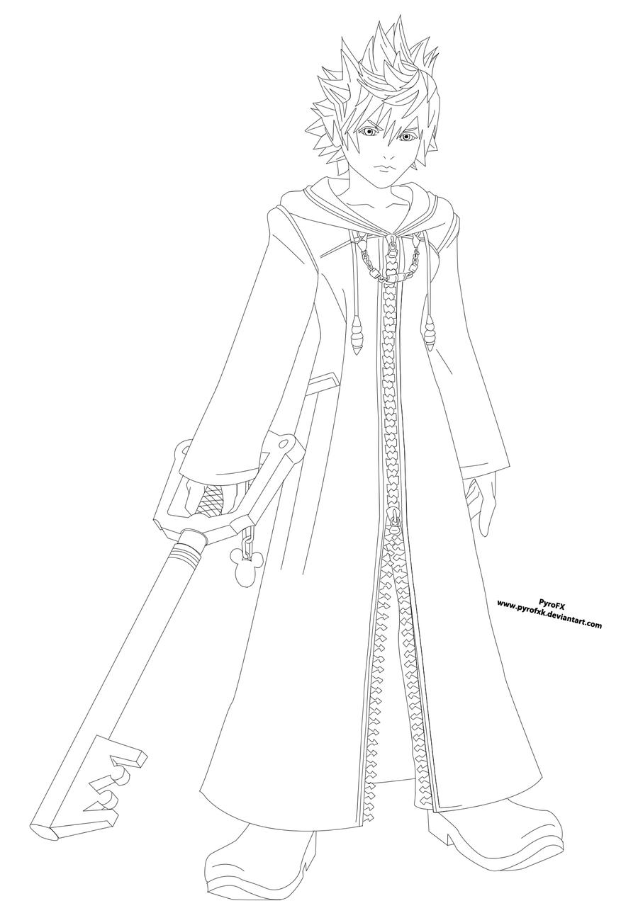 Kingdom Hearts Lineart : Roxas from kingdom hearts lineart by pyrofxk on deviantart