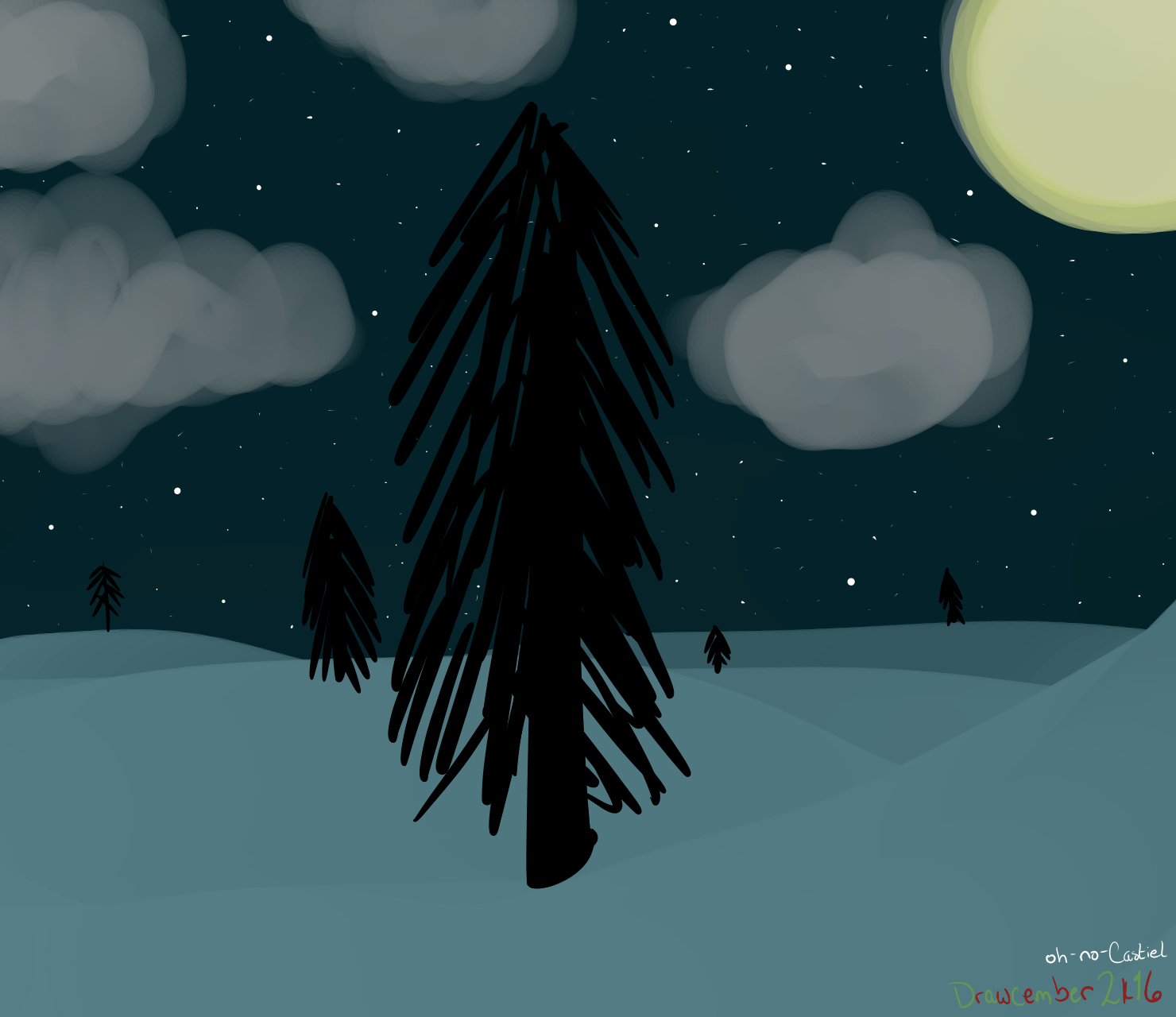 winter night -- Drawcember 7/16 by oh-no-Castiel