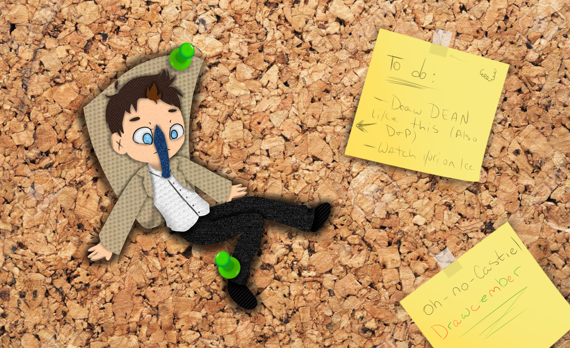 Cork Board Castiel !? -- Drawcember 26/16 by oh-no-Castiel