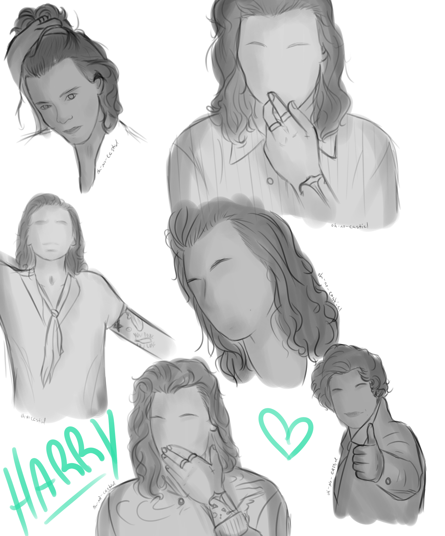 practicing angles and hands w/ Harry Styles by oh-no-Castiel
