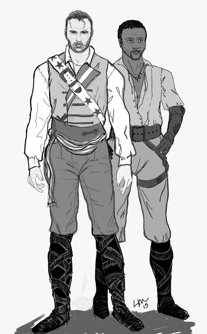 Pirate AU: Steven Rogers and Sam Wilsom by LibertineM