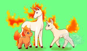 Beta Pokemon- Ponyta Family by SylenisArts