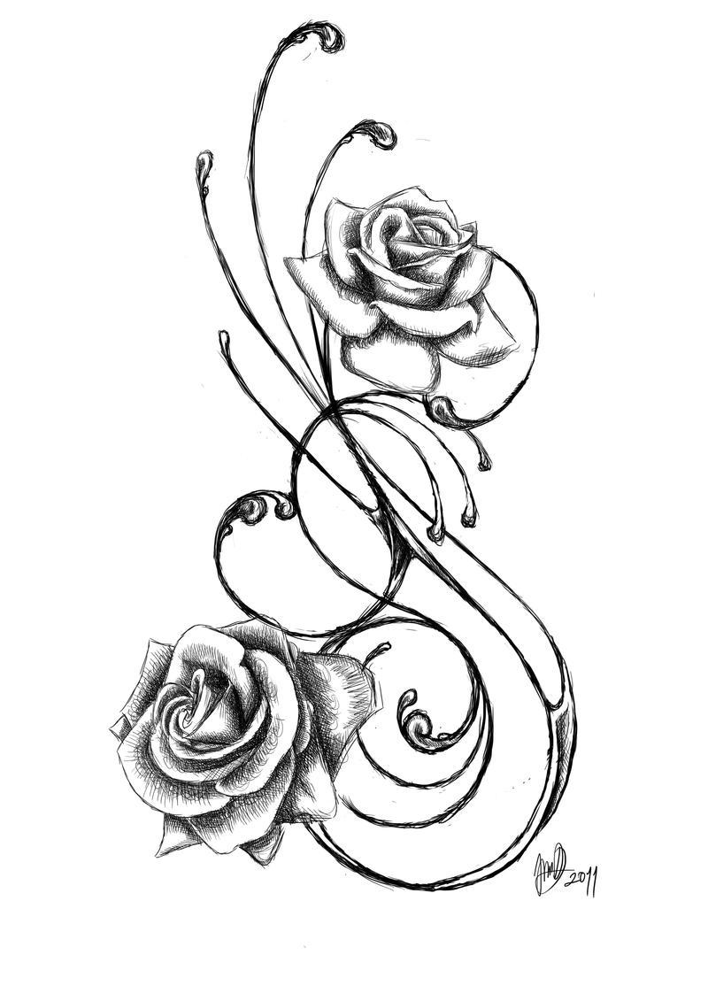 rose tattoo by jadroARTRose Vine Drawing Tattoo