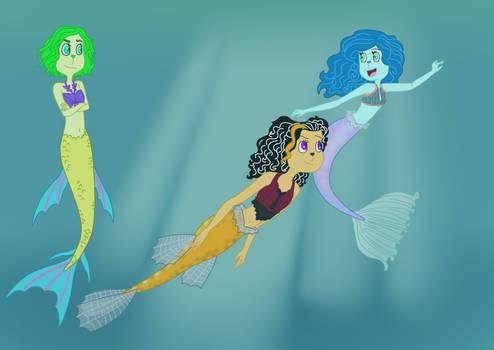 Hadley, Hawaii, and Halloween as Mermaids