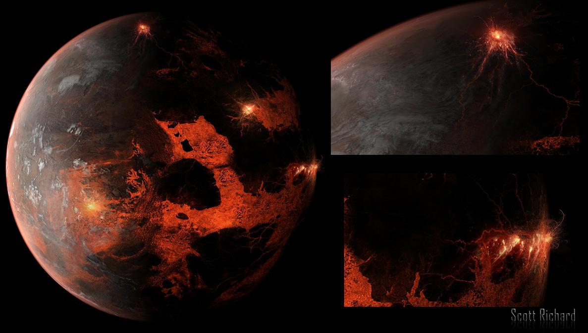 Lava Planet Matte Background by rich35211