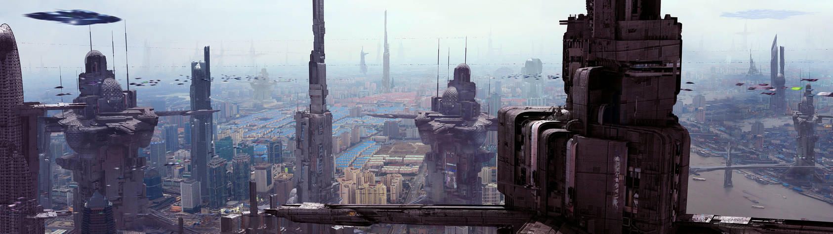 Futuristic City 6 by Scott Richard Dual Screen