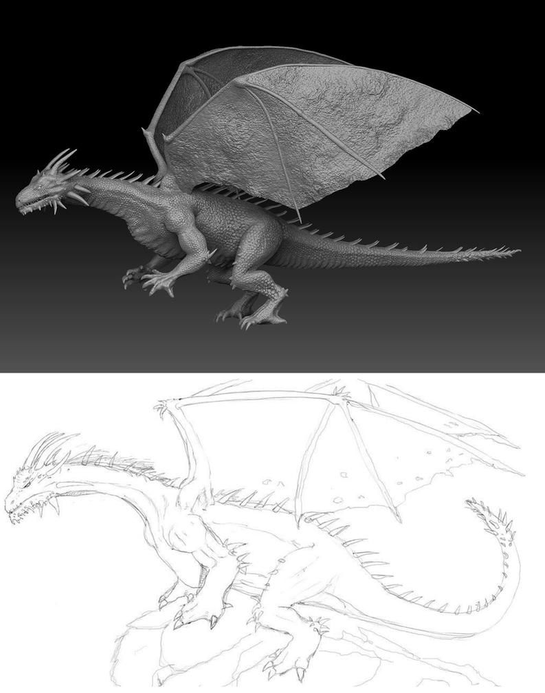 Dragon update concept to 3d model  by rich35211