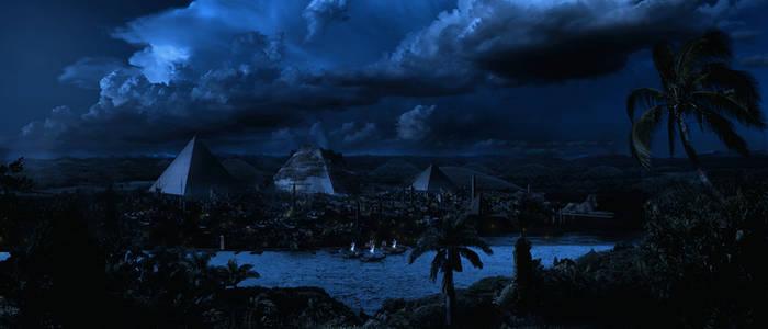 Egypt Matte By Scott Richard Night Full Moon