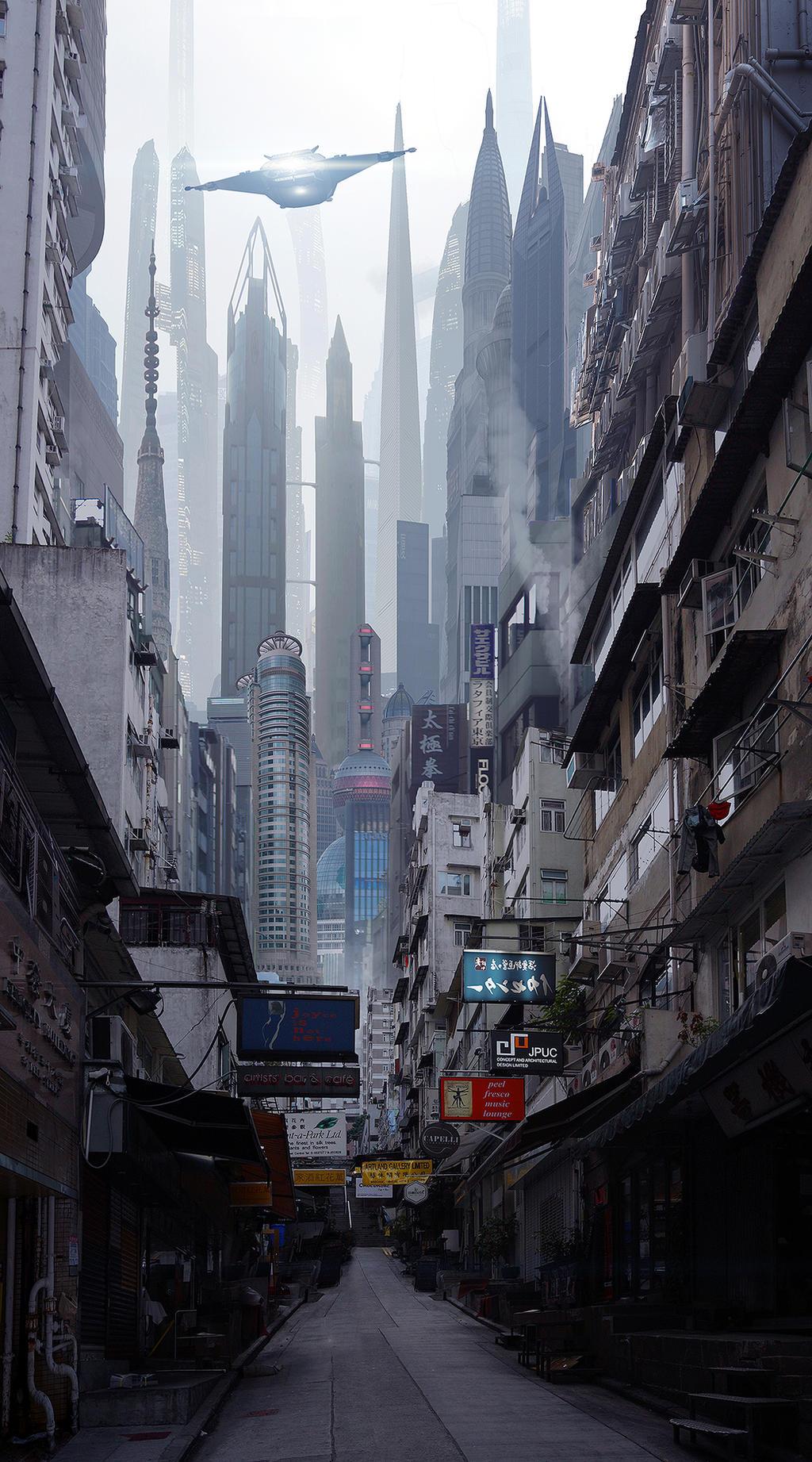 Sci Fi City Street by rich35211