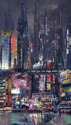 Sci Fi City Street Night by rich35211